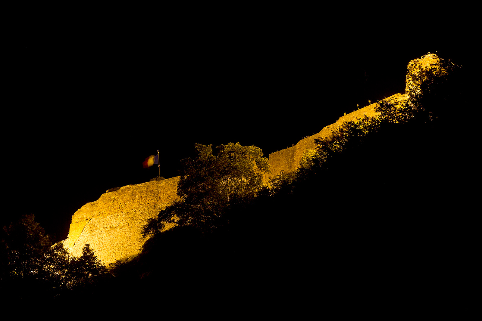 Cetatea Poienari - the Poienari Fortress at night from our camping place