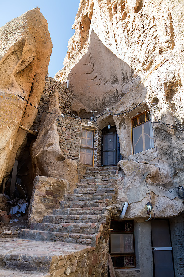 A detail from the village of Kandovan - old dwellings with modern attributes.