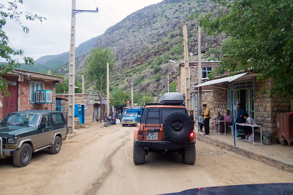 Passing through one of the villages in Hawraman valley.