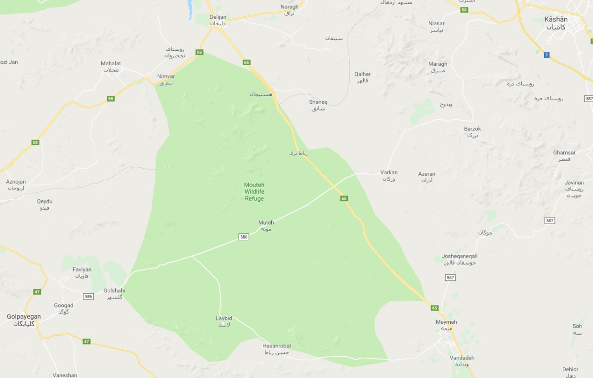 When you check the area of Muteh in  Google Maps , a large green section depicts Mouteh WIldlife Refuge. Mind that the green area covers waaaay more than 100 square kilometres.