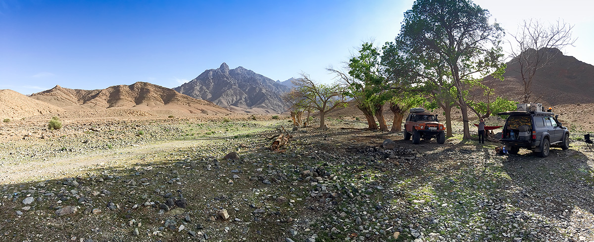 Our bivouac at the hidden oasis under Kuh-e Karkas