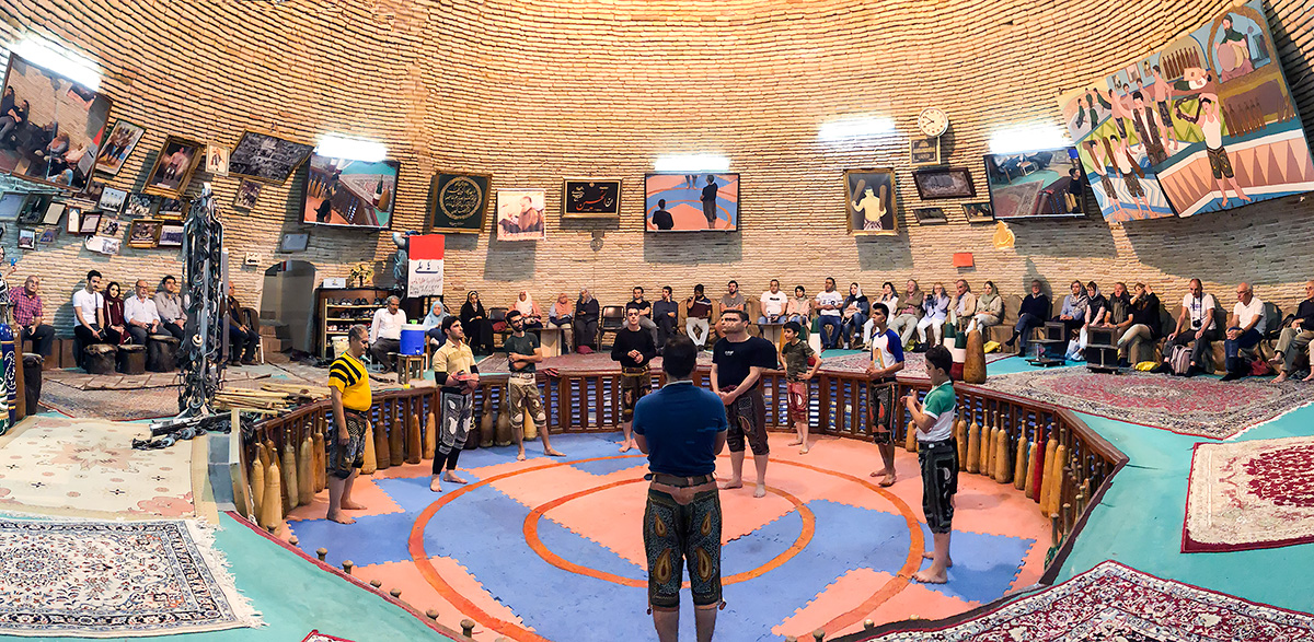 Visiting the Saheb a Zaman zoorkhanekh, literally  house of strength), a traditional system of athletics originally used to train warriors in Persia, near Amir Chakhmaq Square.