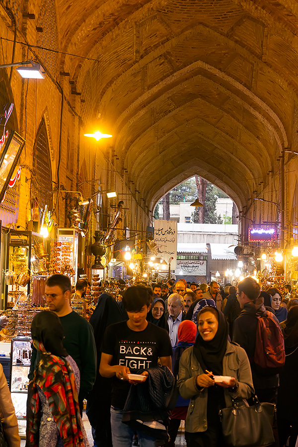 The Imam Square is surrounded by the bazaar, full of people, full of goods.