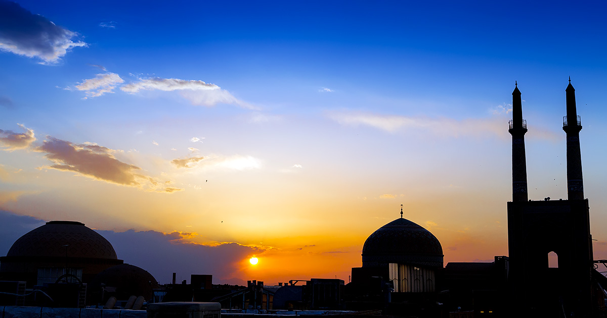 Yazd is a desert city and real life in desert cities begins after the sunset, that beautiful moment when the sun slowly lies to rest behind the line of city rooftops.