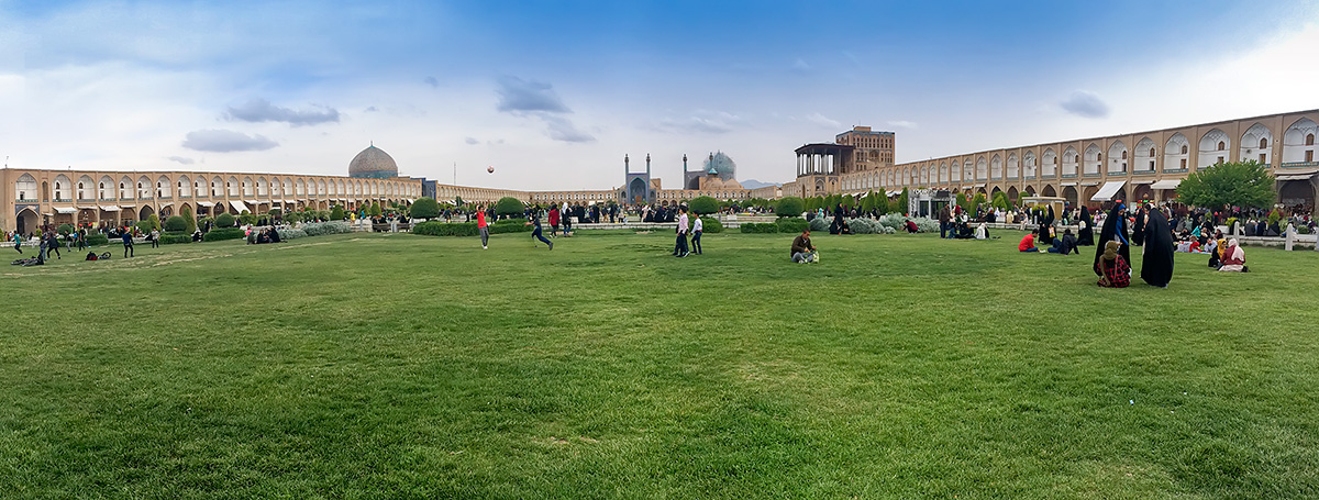 The centre of Naqsh-e Jahan Square, or Imam square, the main attraction of Esfahan. It is  160 metres  wide by 560 metres  long and always full of people.