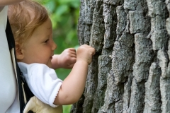 Perhaps she will one day be a treehugger. Padurea Domneasca National Park in Moldova.