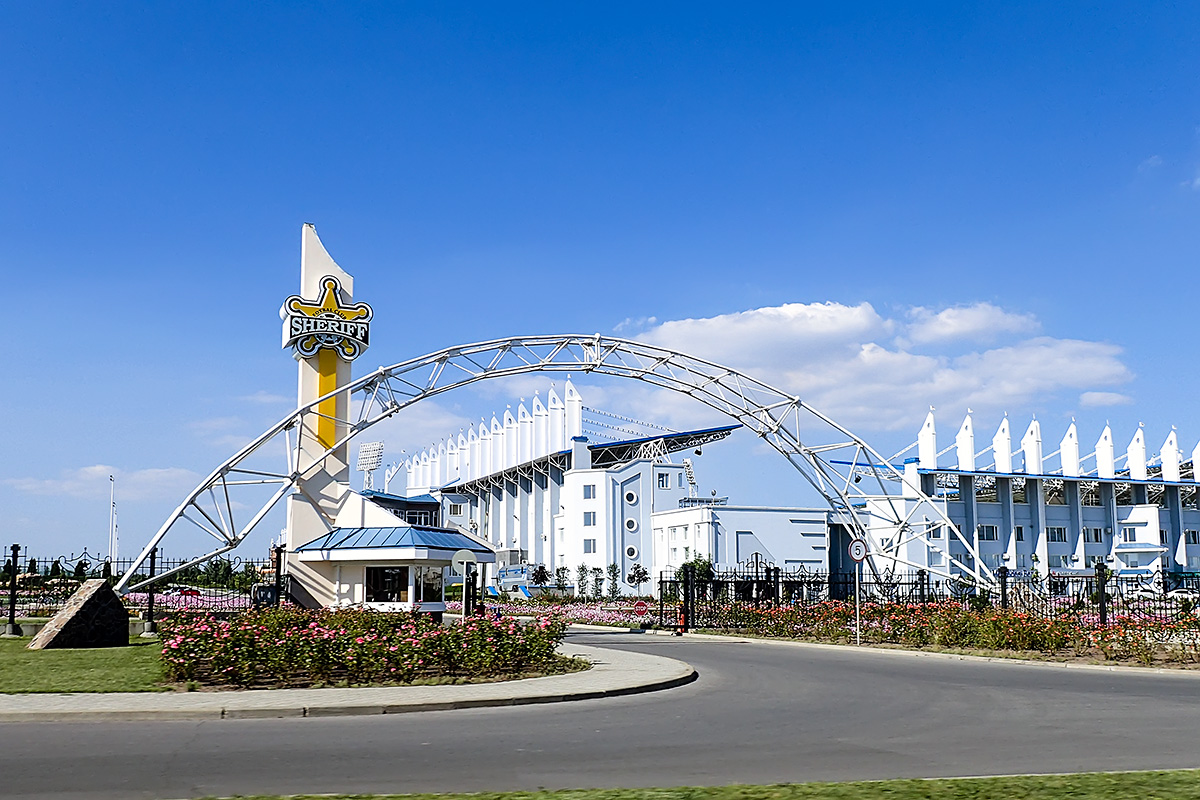The entrance to the 200-million-dollar Sheriff football stadium in Tiraspol.
