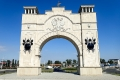 Arch of Triumph of Transnistria with our Landcruiser in it's shade.