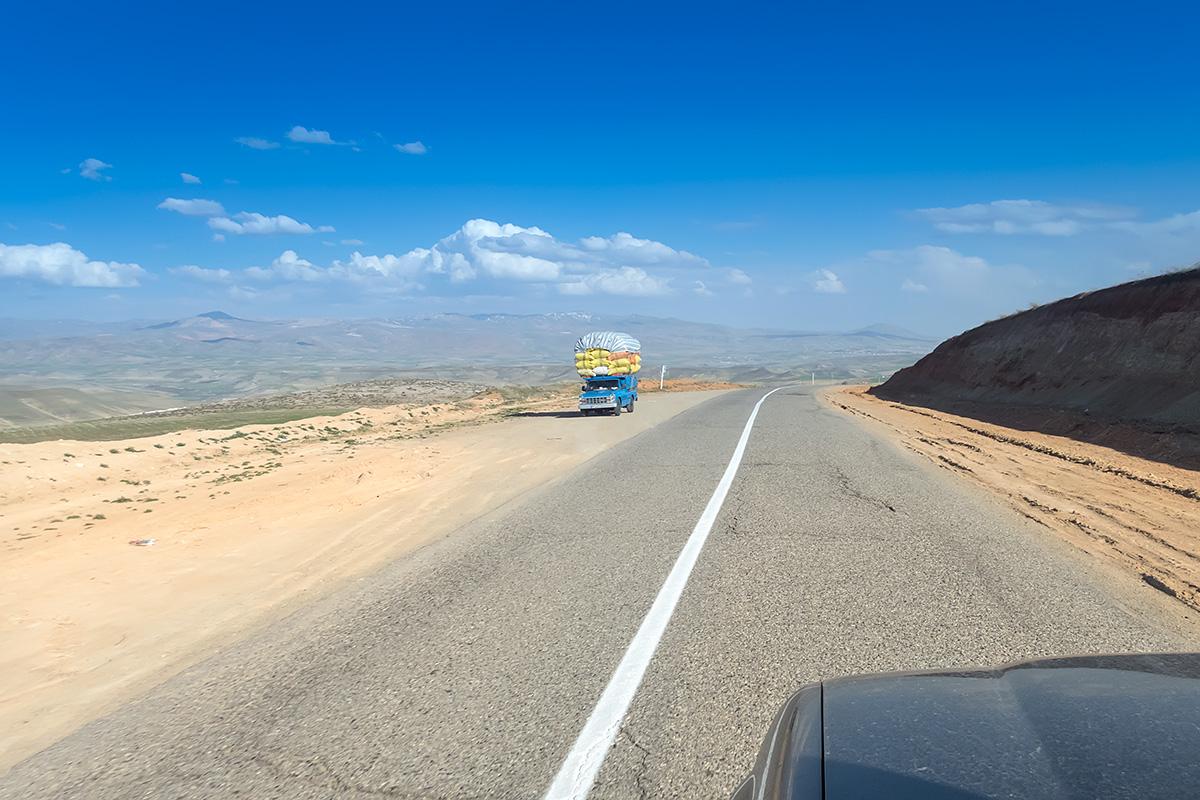 The roads over West Azerbaijan Province of Iran leading towards Takht-e Soleyman.