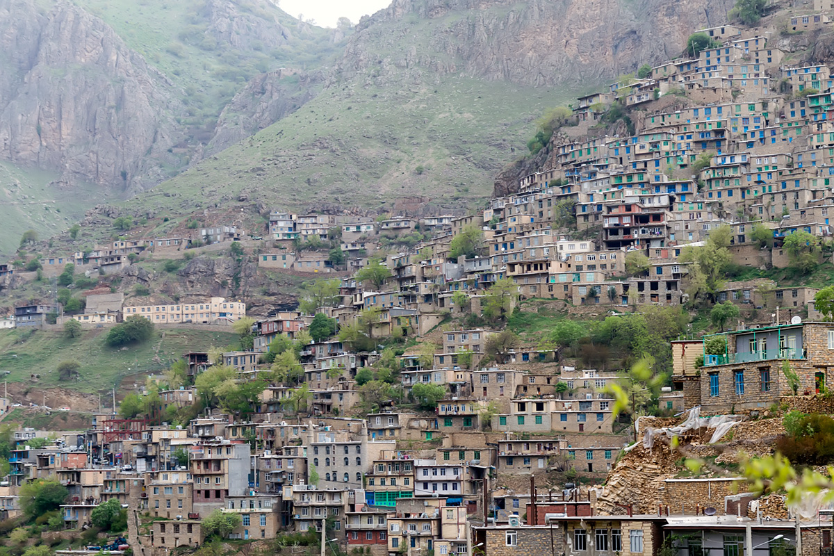 The village of Hawraman-al-Takht, the largest and one of the most beautiful villages of the valley, where the roof of one house is the garden of the house above it.