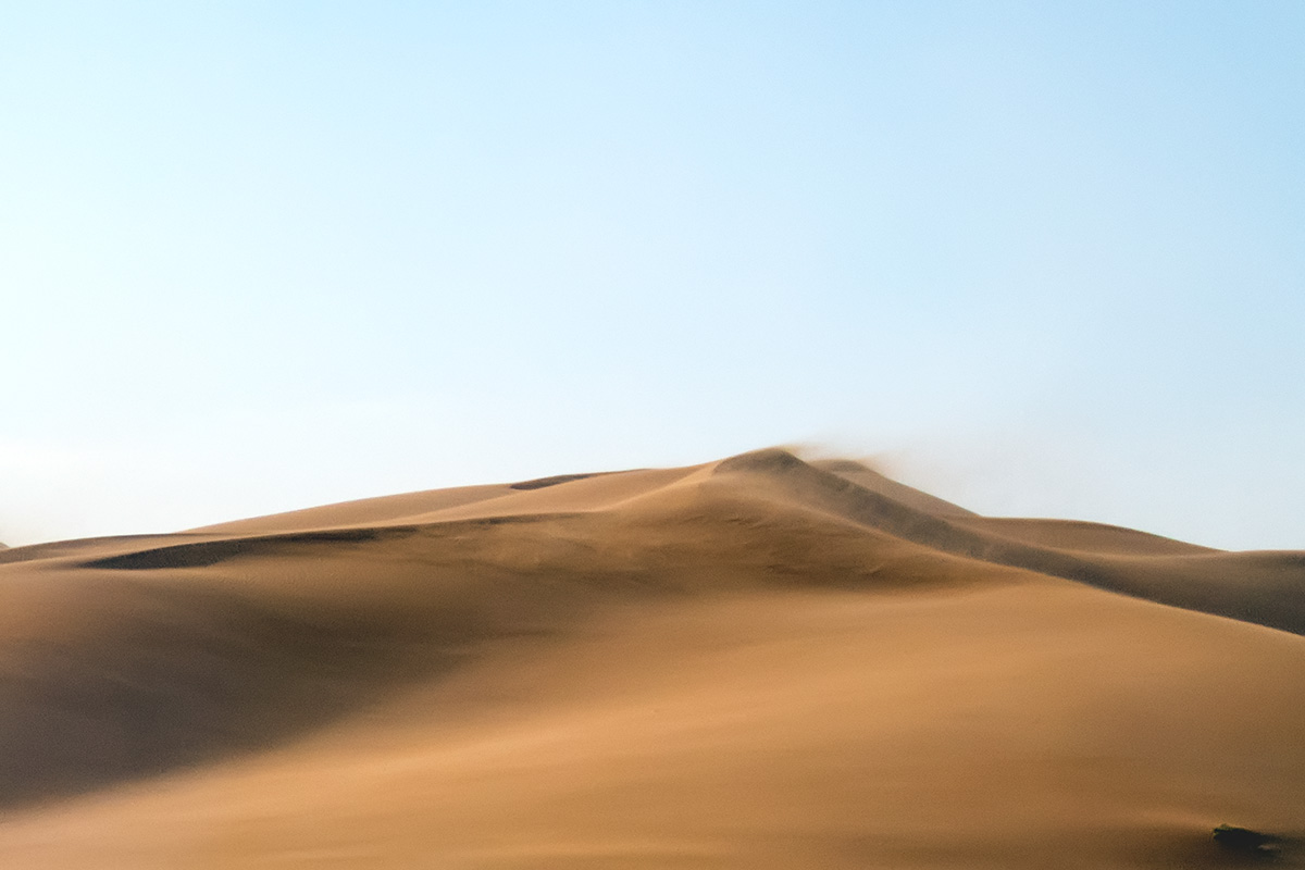 The morning in the desert when we continued our journey. You can easily see how wind blows the desert sands.