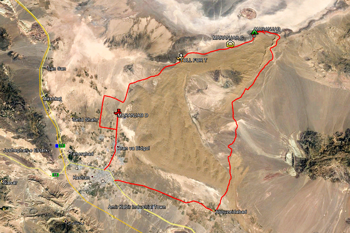 A good 180 kilometres of the track of our wanderings around Maranjab Desert.