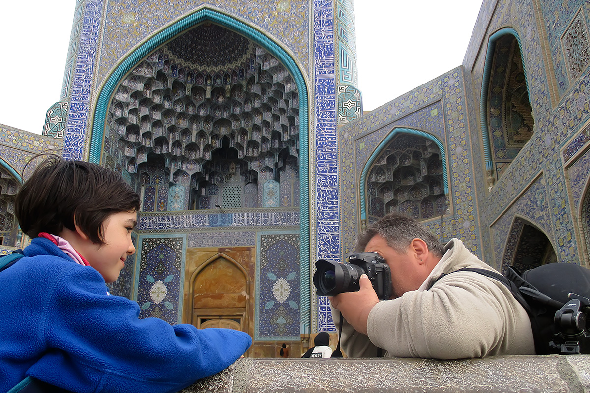 Izabel and Dusko in front of the Shah Mosque in Esfahan