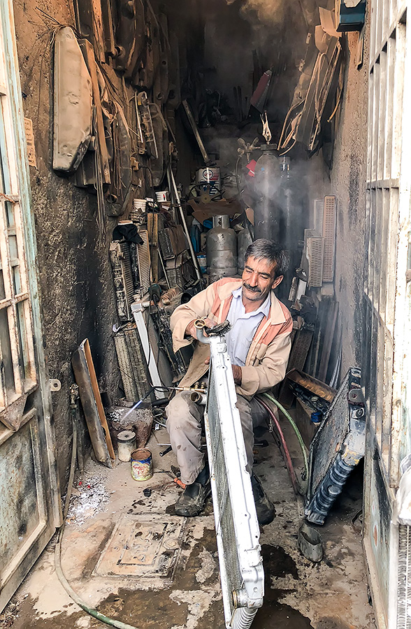 The maestro in his workshop. The radiator still functions.