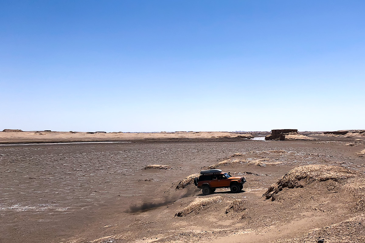 Trying to find the passage over the river to the Gandom Beryan volcanic plateau.