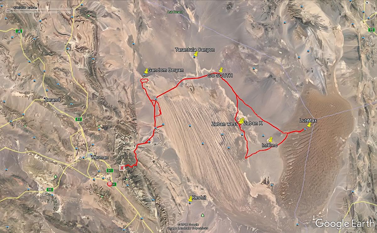Our tracks in the Dasht-e Lut