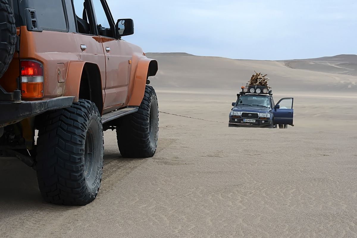 When you drive too slow and encounter a patch of extremely soft sand or feche-feche, you better have a companion nearby. Photo LoneWolf