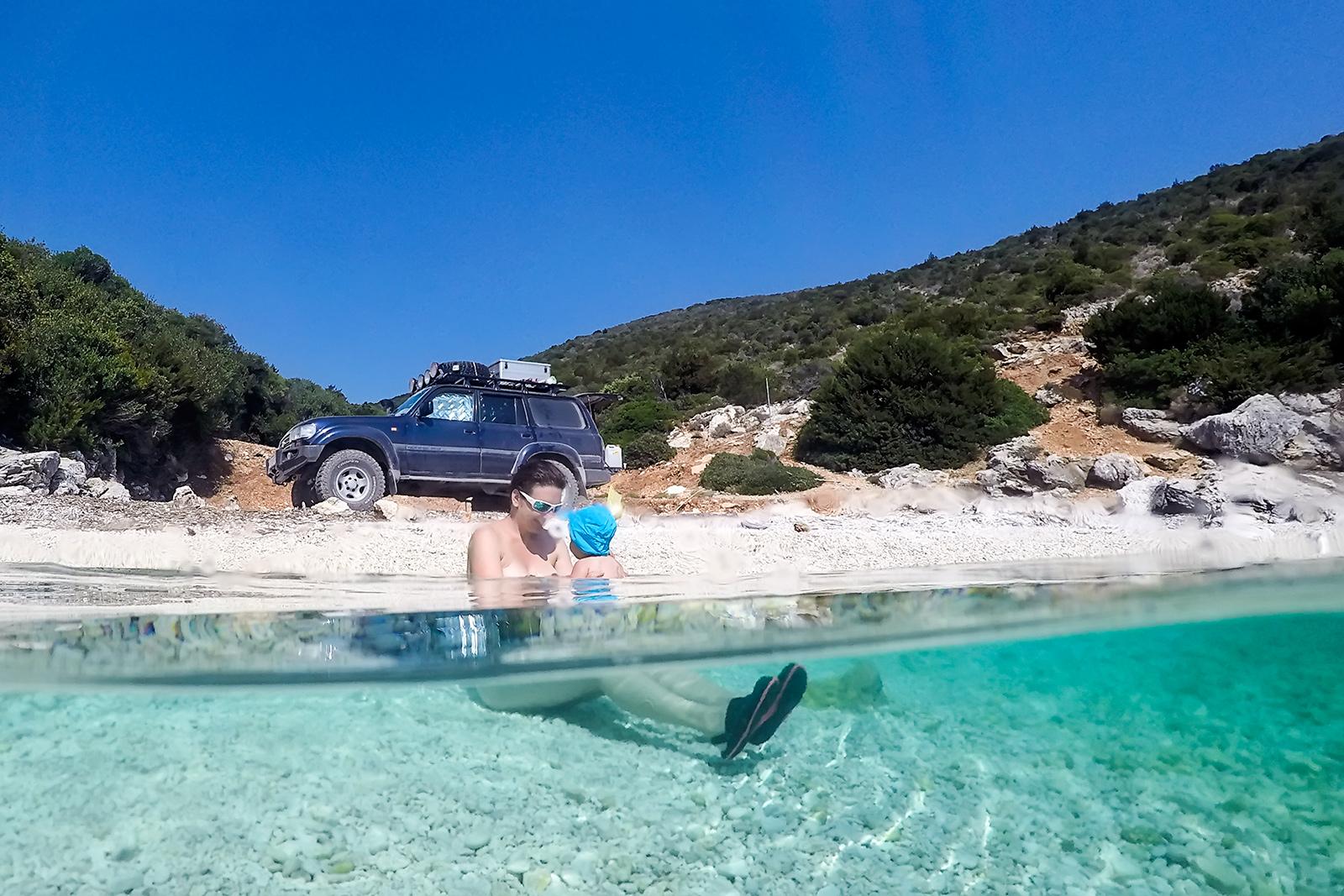 Bivouac on the beach in Greece.