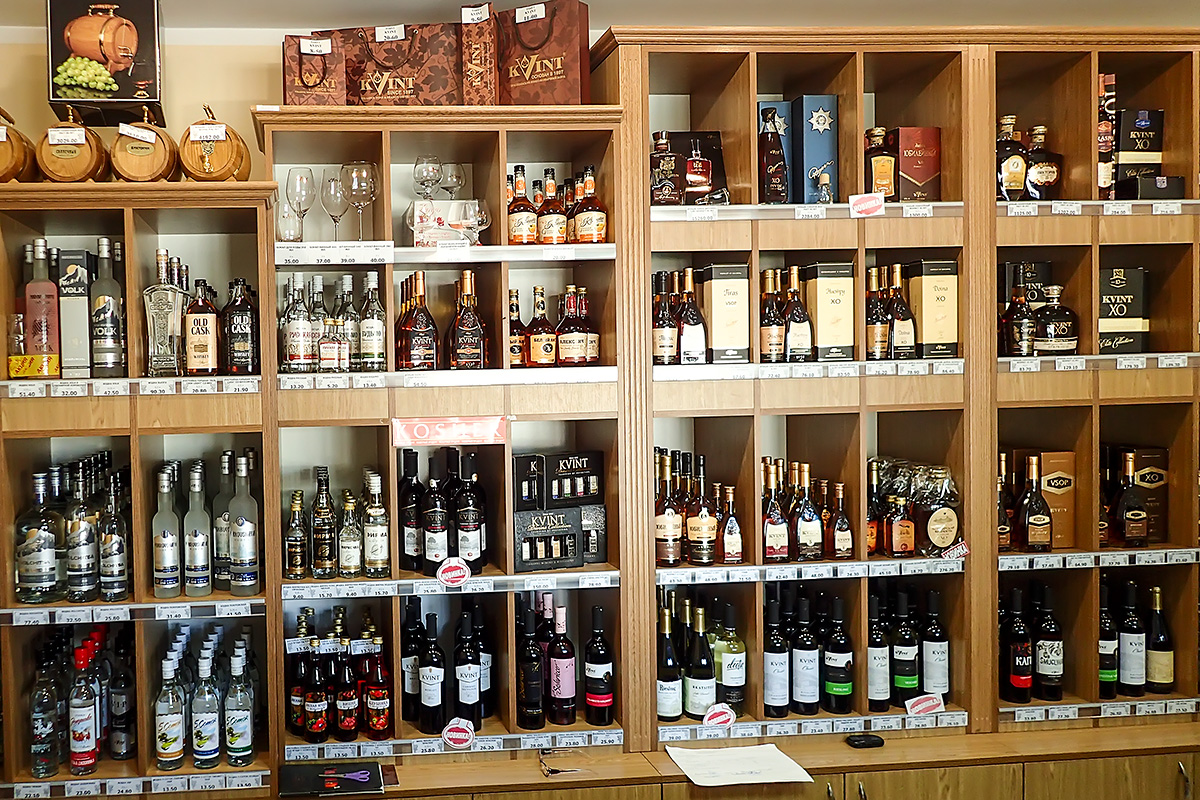 Part of the selection of products in the Kvint store in Tiraspol.