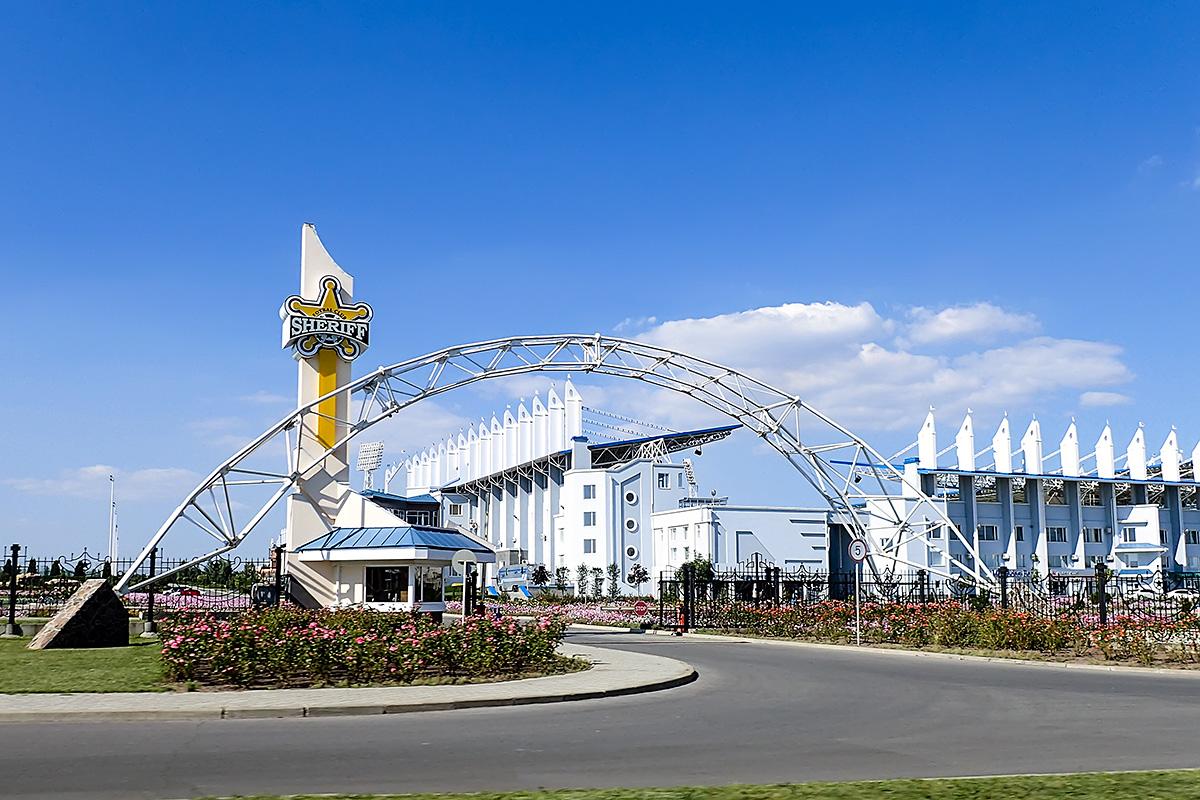 The entrance to the 200-million-dollar Sheriff football stadium in Tiraspol.